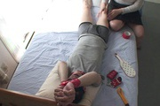 Tied up guy gets two MILF's to work his dick Rika Shibuki Photo 2