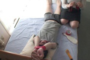 Tied up guy gets two MILF's to work his dick Rika Shibuki Photo 3