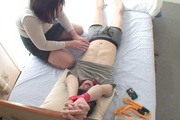 Tied up guy gets two MILF's to work his dick Rika Shibuki Photo 9