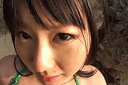 Megumi Haruka gives an asian POV blowjob outdoors Photo 6