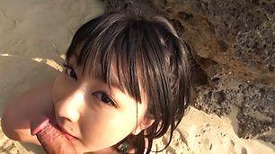 Megumi Haruka shows her big tits while giving head