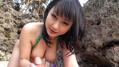 Naughty Teen Megumi Haruka Gives Great Head At The Beach